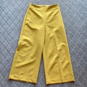 Express high waisted cropped wide leg mustard pant